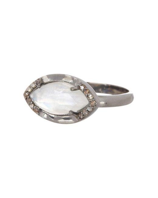 Adornia - White Moonstone And Diamond Mini Marquis Ring - Lyst