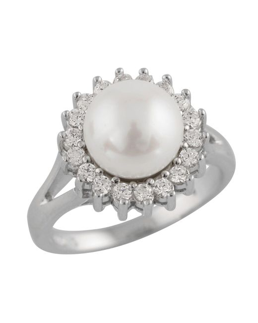 Splendid - White Ring With Freshwater Pearls And Cz - Lyst