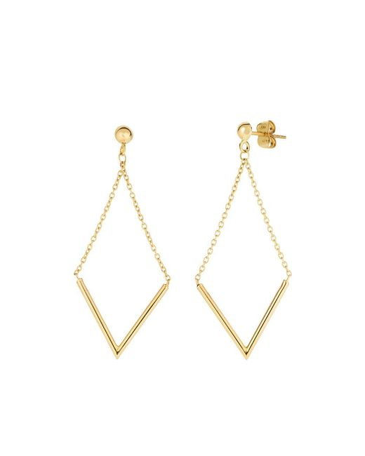 JewelryAffairs - 14k Yellow Gold V Shape Bar Hanging On Chain Drop Earrings - Lyst