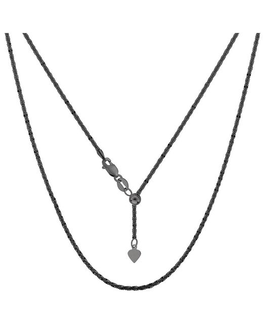 "JewelryAffairs | White Sterling Silver Black Ruthenium Plated 22"" Sliding Adjustable Sparkle Chain Necklace, 1.5mm 