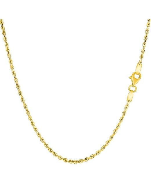 JewelryAffairs - 14k Yellow Gold Solid Diamond Cut Royal Rope Chain Necklace, 1.5mm, 16 Inch - Lyst