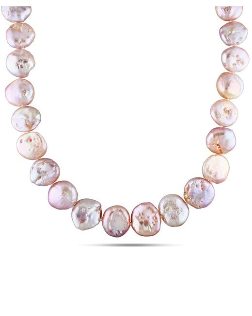Catherine Malandrino - Pink Freshwater Coin Cultured Pearl Strand With Sterling Silver Clasp - Lyst