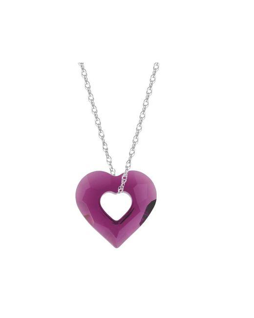 Barzel - Metallic Swarovski Amethyst Miss U Heart Pendant In Sterling Silver - Lyst