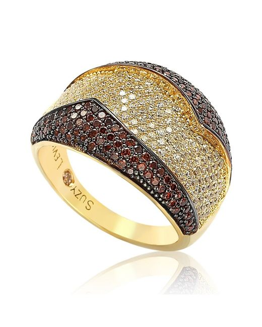 Suzy Levian - Metallic Goldplated Sterling Silver Red And White Cubic Zirconia Anniversary Ring - Lyst