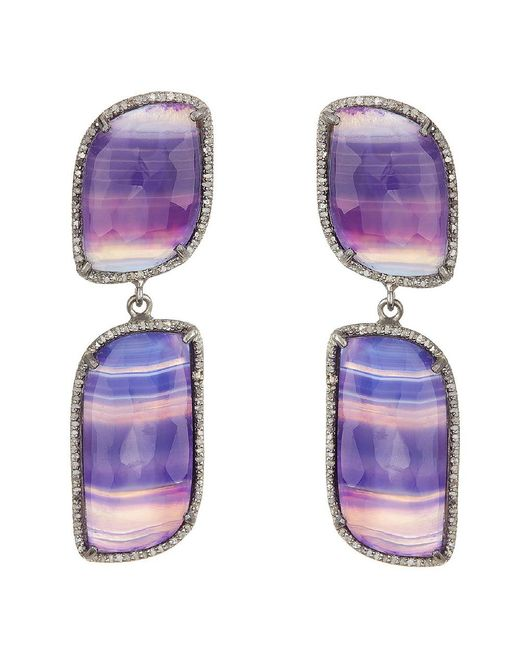 Adornia - Purple Agate And Champagne Diamond Paloma Earrings - Lyst