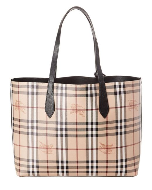7662f420b5b8 ... Lyst Burberry - Black Small Reversible Haymarket Check   Leather Tote  ...