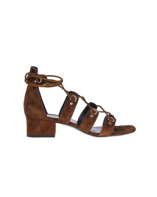Saint Laurent | Women's 427820clt002532 Brown Suede Sandals | Lyst