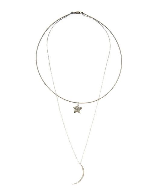 Adornia   Metallic Sterling Silver And Champagne Diamond Aurora Layered Collar And Chain Neckalce   Lyst