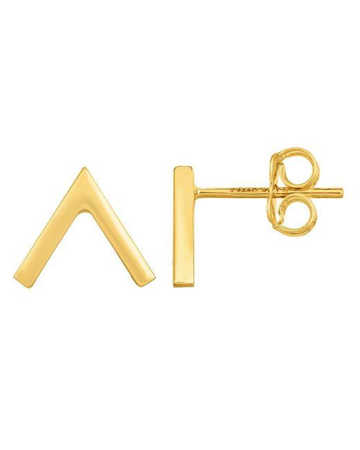 JewelryAffairs | 14k Gold Yellow V Chevron Style Stud Earrings | Lyst