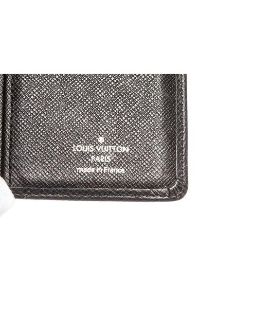 5fa51aea4ca8 ... Louis Vuitton - Black Taiga Leather Brazza Wallet for Men - Lyst ...
