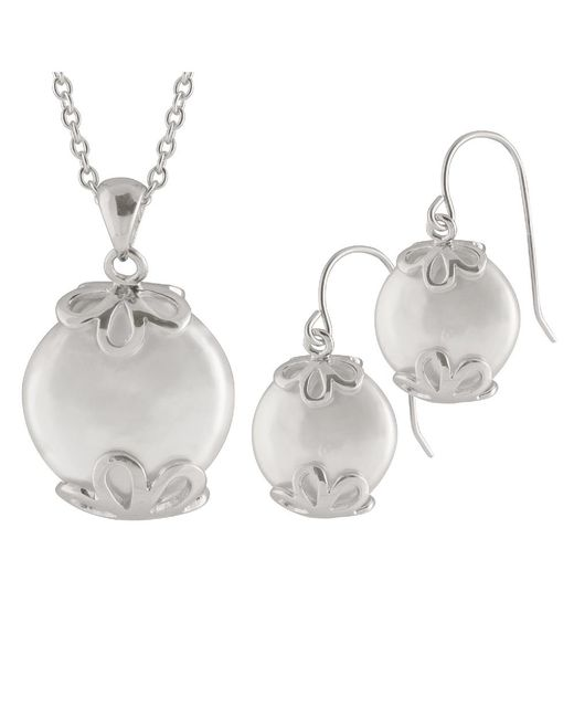 Splendid | White Coin Pearl Pendant And Earring Set In Sterling Silver | Lyst