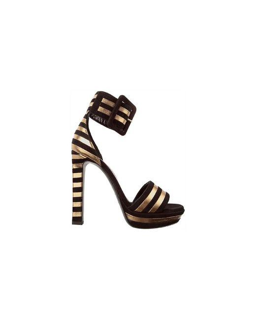 Saint Laurent | Women's 315709c2wr01059 Black/gold Leather Sandals | Lyst