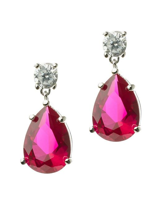 CZ by Kenneth Jay Lane - Red 8cttw Round/pear Cz Ears - Lyst