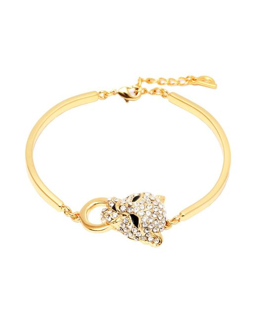 Peermont - Metallic Gold And Swarovski Elements Heart Bracelet - Lyst
