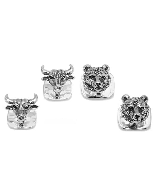 Ox and Bull Trading Co. - Metallic Sterling Bull And Bear Head Studs for Men - Lyst