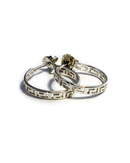 JewelryAffairs - Metallic Sterling Silver Rhodium Plated Ancient Greek Key Hoop Earrings - Lyst