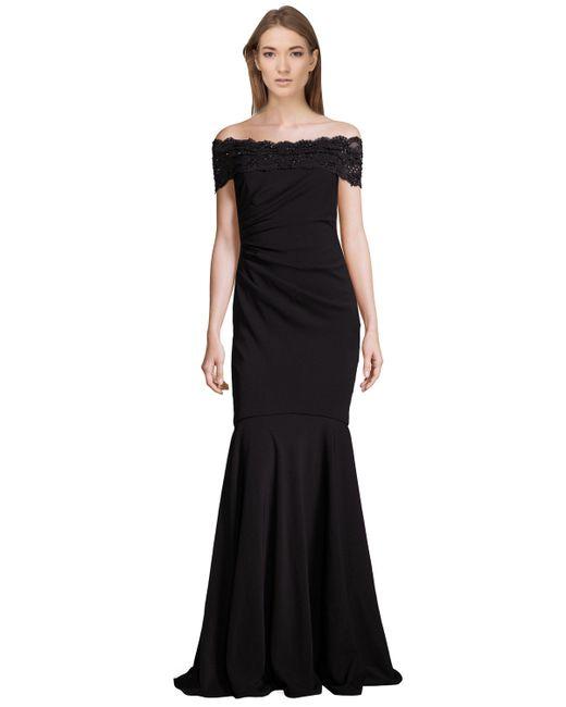 Badgley Mischka - Black Beaded Off The Shoulder Gown - Lyst