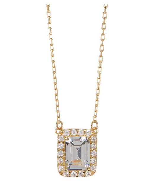 Adornia - Yellow Gold Vermeil And Swarovski Crystal Halo Necklace - Lyst