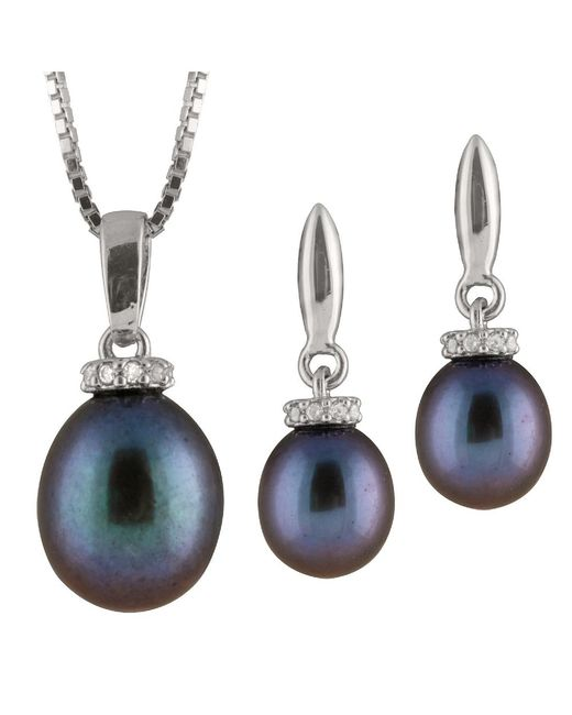 Splendid - Blue Cz And Pearl Pendant & Earring Set - Lyst