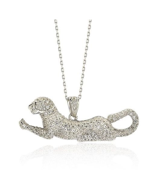 Suzy Levian   Sterling Silver White Sapphire And Diamond Accent Prowling Tiger Pendant   Lyst