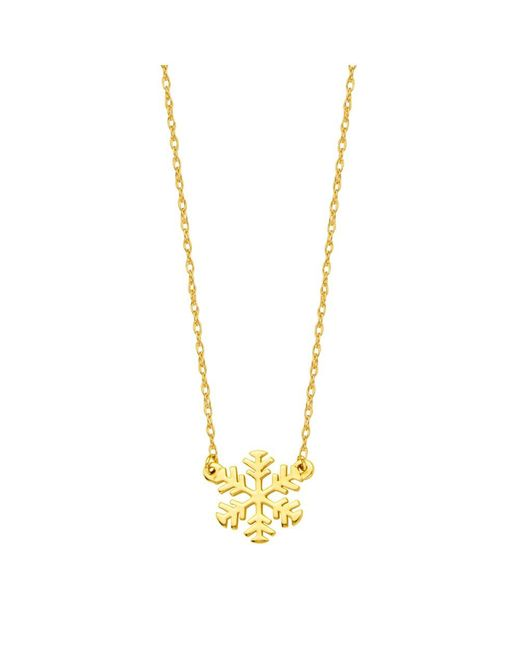"JewelryAffairs - 14k Yellow Gold Mini Snowflake Pendant Necklace, 16"" To 18"" Adjustable - Lyst"