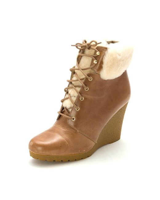 MICHAEL Michael Kors | Brown Womens Putnam Wedge Bootie Leather Closed Toe Ankle Cold... | Lyst