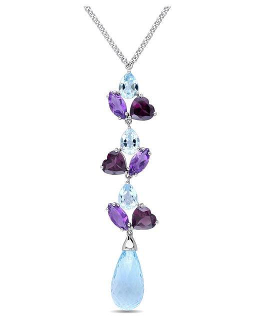 Julianna B - Metallic Blue Topaz - Sky Rhodolite-garnet Amethyst-africa Necklace - Lyst