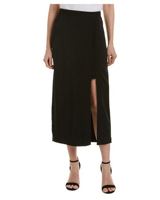 A.L.C. | Black A.l.c. Steve Silk-trim Midi Skirt | Lyst