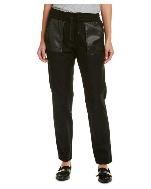 The Kooples - Black Leather-trim Sweatpant - Lyst