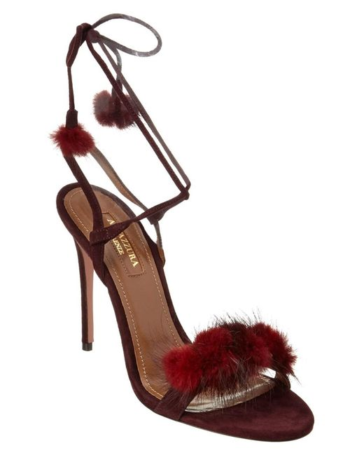 Aquazzura | Red Wild Russian 105 Suede Heeled Sandal | Lyst