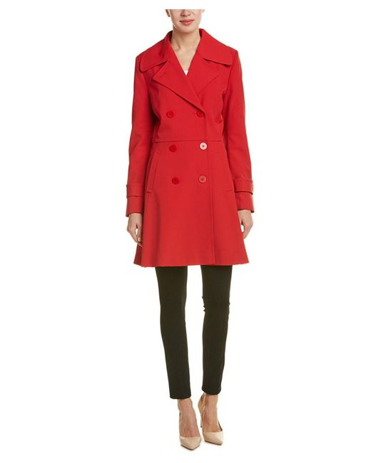 Trina Turk | Red Double Breasted Trench Coat | Lyst