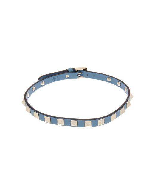 Valentino | Blue Rockstud Leather Choker Necklace | Lyst