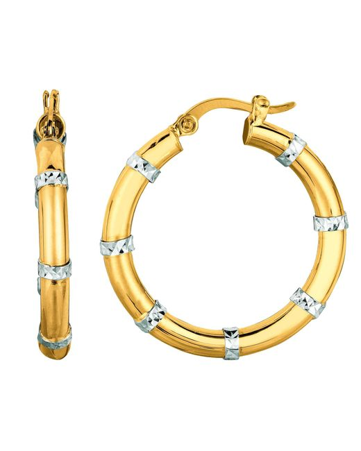 JewelryAffairs - Metallic 14k Yellow And White Gold Diamond Cut Fashion Sparkle Hoop Earrings, Diameter 25mm - Lyst