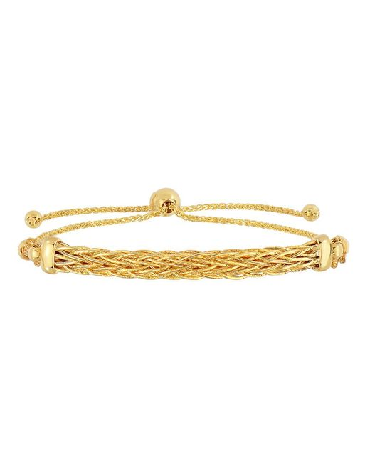 JewelryAffairs - 14k Yellow Gold Diamond Cut Round Wheat Bracelet With Arched Weave Center Element, 9.25 - Lyst