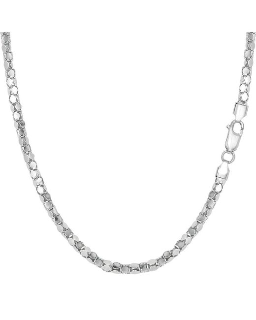 JewelryAffairs   White Sterling Silver Rhodium Plated Popcorn Rope Chain Necklace, 2.2mm, 18   Lyst