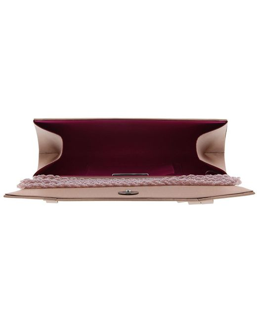 ... Nina | Pink Avis Classic Pleat Satin Clutch | Lyst ...