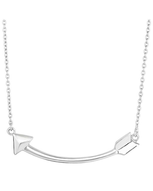 JewelryAffairs - White Sterling Silver Sideways Curved Arrow Necklace, 18 - Lyst