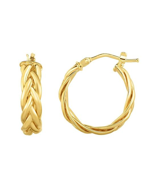 JewelryAffairs - 14k Gold Yellow Finish Hoop Fancy Earrings, Diameter 15mm - Lyst