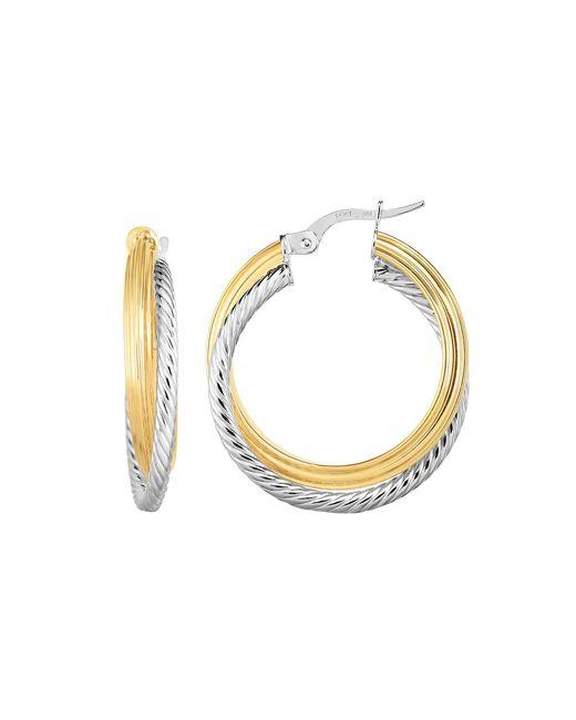 JewelryAffairs - Metallic 14k Gold Yellow And White Finish Hoop Fancy Earrings, Diameter 20mm - Lyst