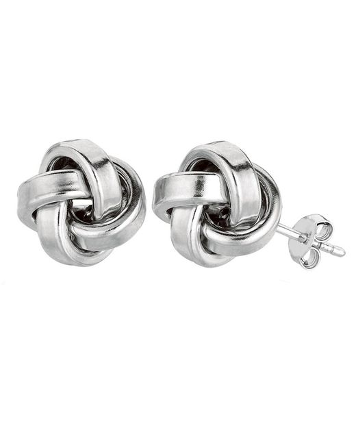 JewelryAffairs - White Sterling Silver Rhodium Finish 10mm Shiny Love Knot Stud Earrings - Lyst