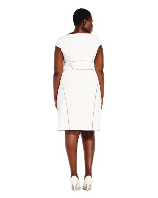 2e4b1cab278 ... Adrianna Papell - White Cap Sleeve A-line Dress With Sheer Inset Design  - Lyst