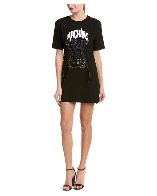 Lea & Viola - Black Lace-up Graphic T-shirt - Lyst