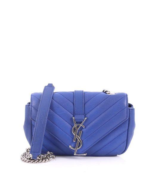 Saint Laurent - Blue Classic Monogram Punk Chain Bag Matelasse Chevron Leather Baby - Lyst