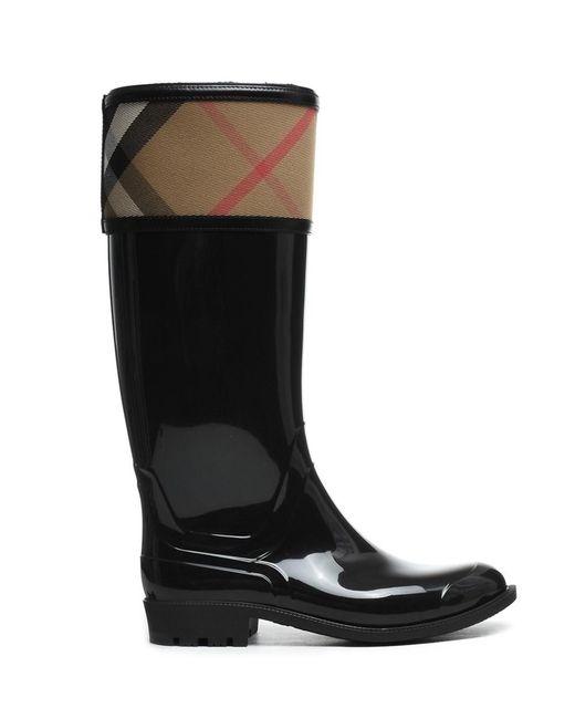 Burberry - Women's 39829441003 Black Rubber Boots - Lyst