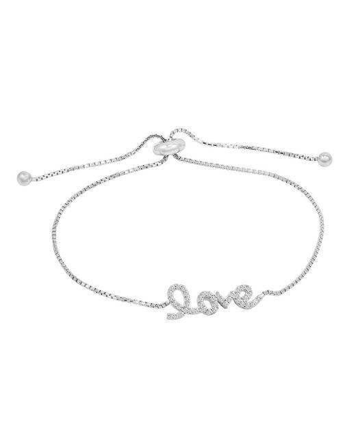Amanda Rose Collection - Metallic Amanda Rose Cubic Zirconia Sterling Silver Love Bolo Bracelet (adjustable 4-10 Inches) - Lyst