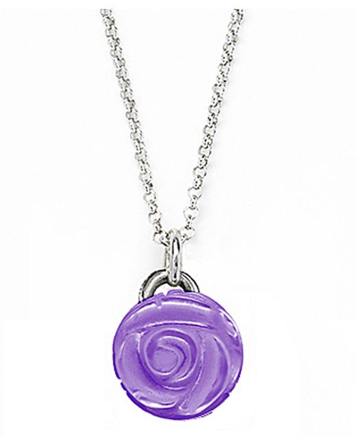 Jan Leslie | Purple Small Amethyst Gemstone Rose Pendant / Charm Necklace | Lyst