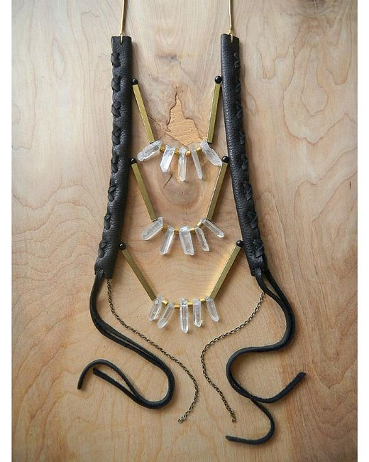 Love Leather | Multicolor Crystal Disco Necklace | Lyst