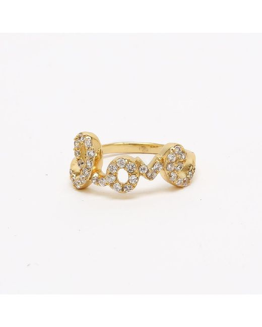 Adornia | Metallic Yellow Gold Love Ring | Lyst