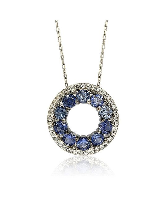 Suzy Levian | Sterling Silver Blue And White Sapphire & Diamond Accent Double Circle Eternity Pendant | Lyst