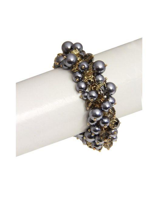 Saachi | Gray Pearl Bracelet Gunmetal | Lyst